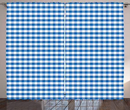 Checkered Curtains By Ambesonne Monochrome Gingham Checks Classical Country Culture Old Fashioned Grid Design