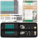 XL Drawing Set - Sketching, Graphite and Charcoal Pencils. Includes 100 Page Drawing Pad, Kneaded Eraser, Blending Stump. Art