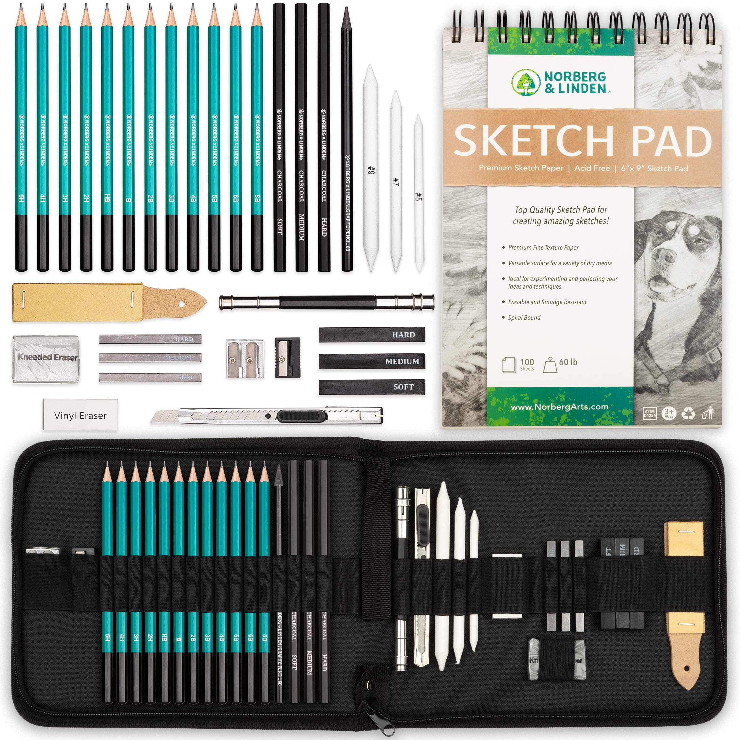 Norberg & Linden XL Drawing Set - Sketching, Graphite and Charcoal Pencils. Includes 100 Page Drawing Pad, Kneaded Eraser, Blending Stump. Art Kit and Supplies for Kids, Teens and Adults.