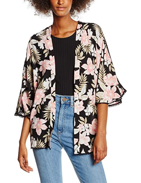 New Look Tropical Kimono, Camiseta sin Mangas para Mujer, Negro (Black Pattern)