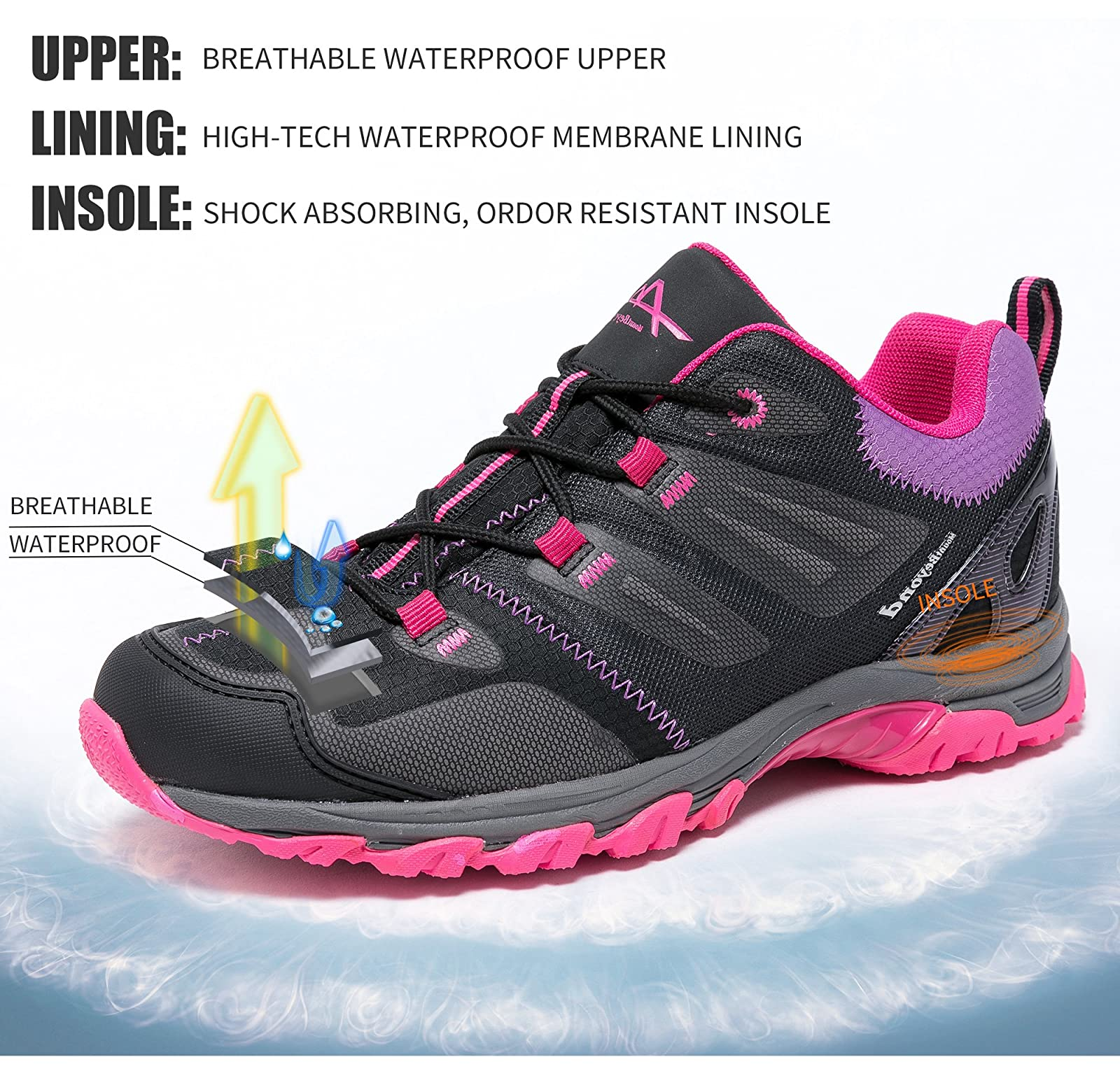 Mountbeyond Womens Waterproof Hiking Shoes Outdoor Breathable W001A - 1