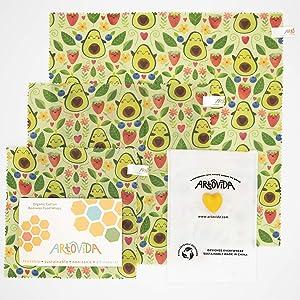 ARTOVIDA Premium Organic Designer Beeswax Food Wraps | Reusable & Biodegradable | No-Plastic Food Storage | Set of 3 Sizes | Elisabeth Fredriksson from Sweden - Happy Avocado