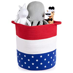 Rope Laundry Basket - Toy Storage - Woven Basket - Large USA Themed Organizer - Laundry Bin for Baby and Kids - Decorative Cotton Hamper for Living Room, Nursery, Toys, Blankets