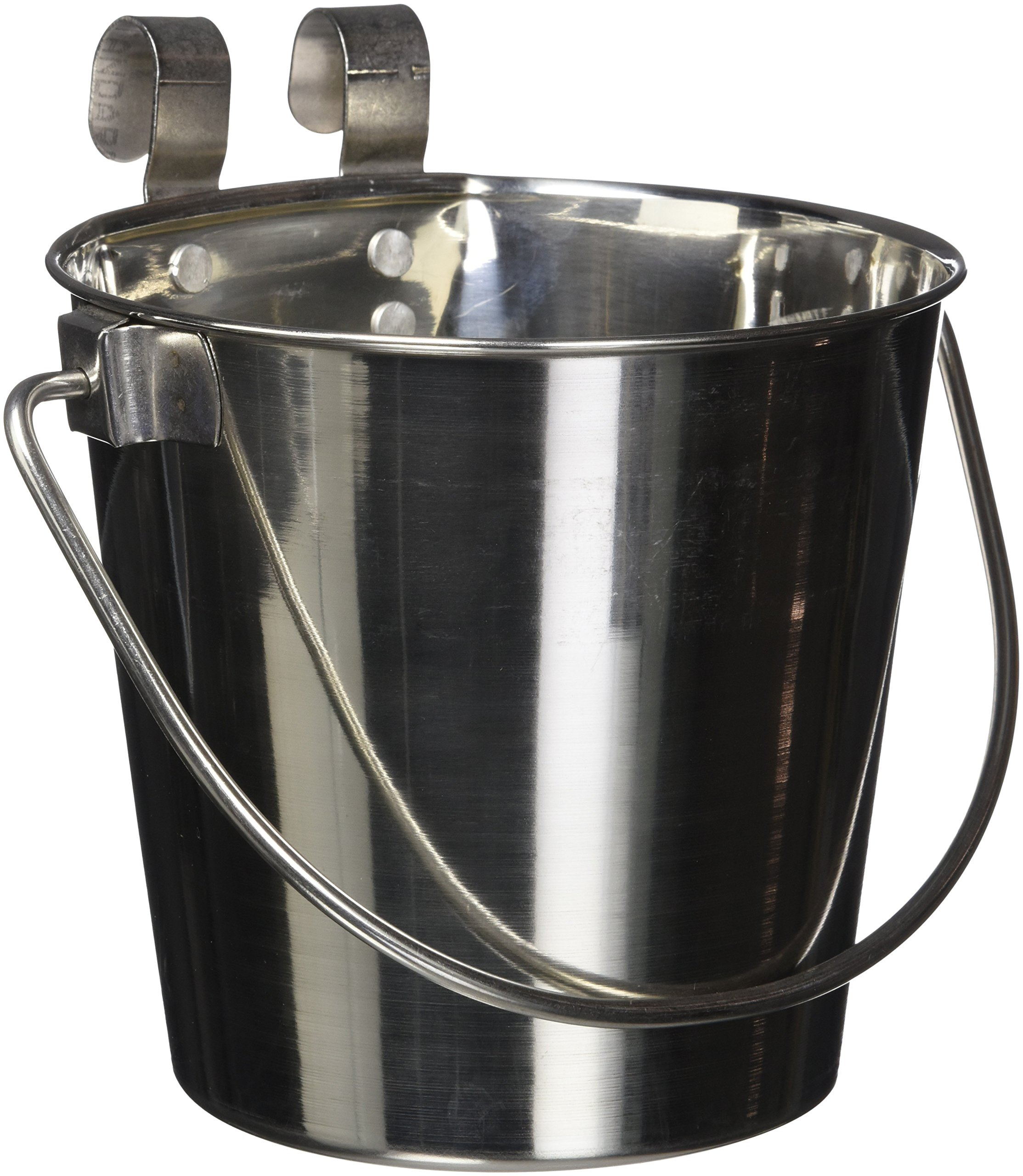 QT Dog Flat Sided Stainless Steel Bucket with Hooks, 2 Quart 1