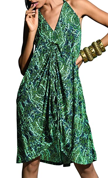 David Lady Club Swirly Patterned Loose Fitting playa vestido, verde, UK 10