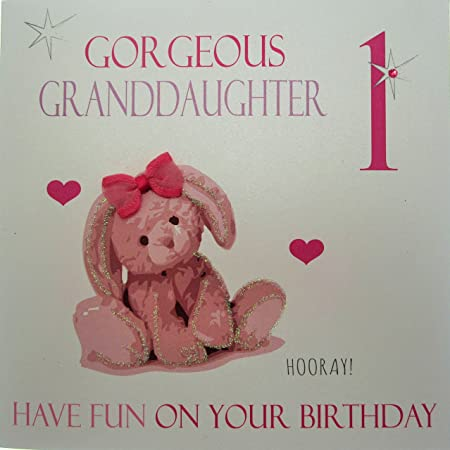 WHITE COTTON CARDS Large Pink Bunny Gorgeous Granddaughter 1 Have Fun On Your Birthday Handmade