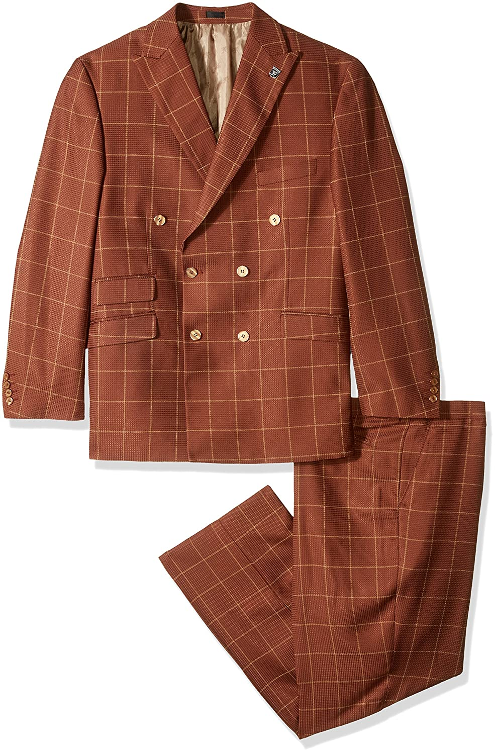 1940s Mens Suits | Gangster, Mobster, Zoot Suits  Big & Tall Double Breasted Suit Mini Check STACY ADAMS Mens Tall Sam $166.98 AT vintagedancer.com