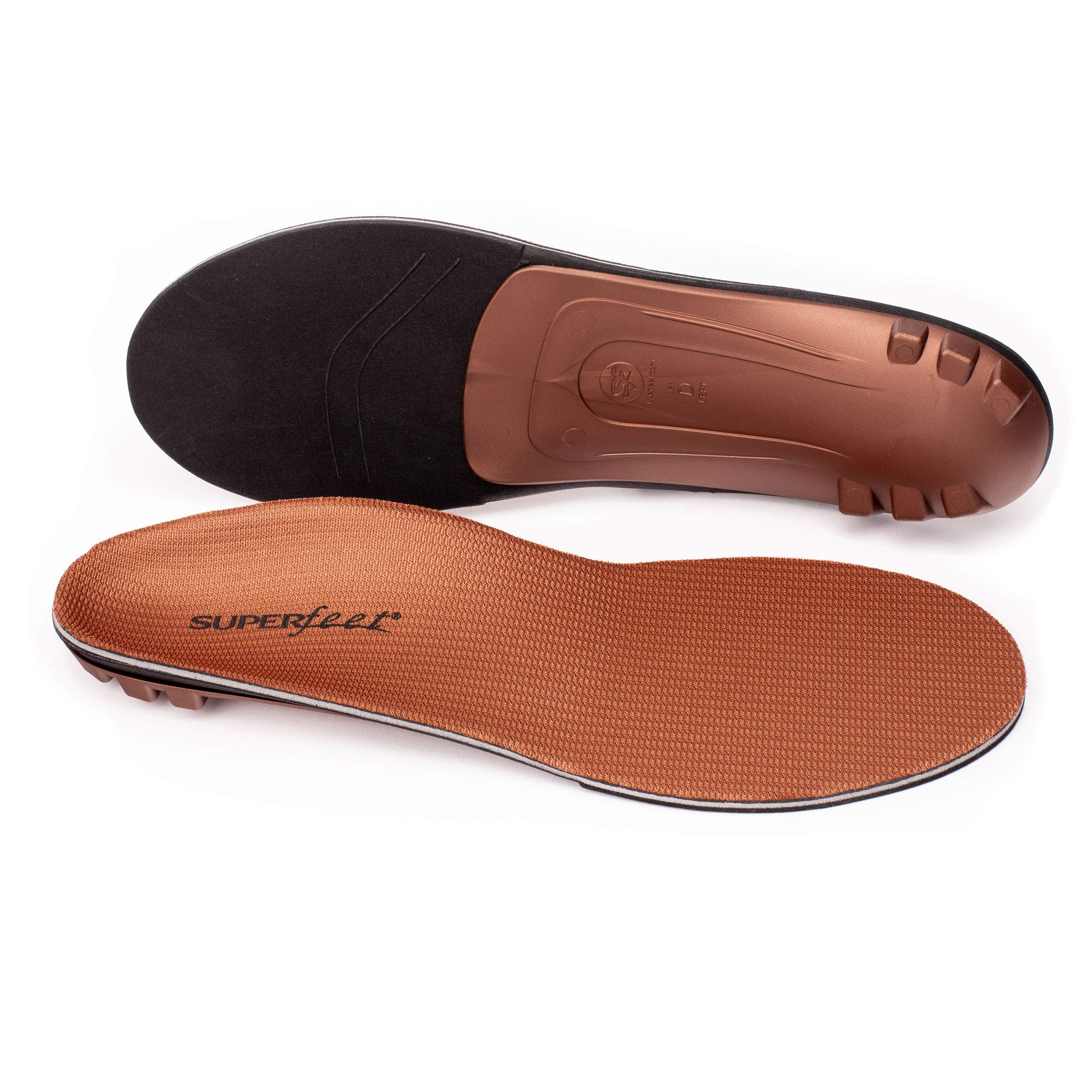 Superfeet COPPER, Memory Foam Comfort plus Support Anti-fatigue Replacement Insoles, Unisex, Copper, Large/E: 10.5-12 Wmns/9.5-11 Mens by Superfeet