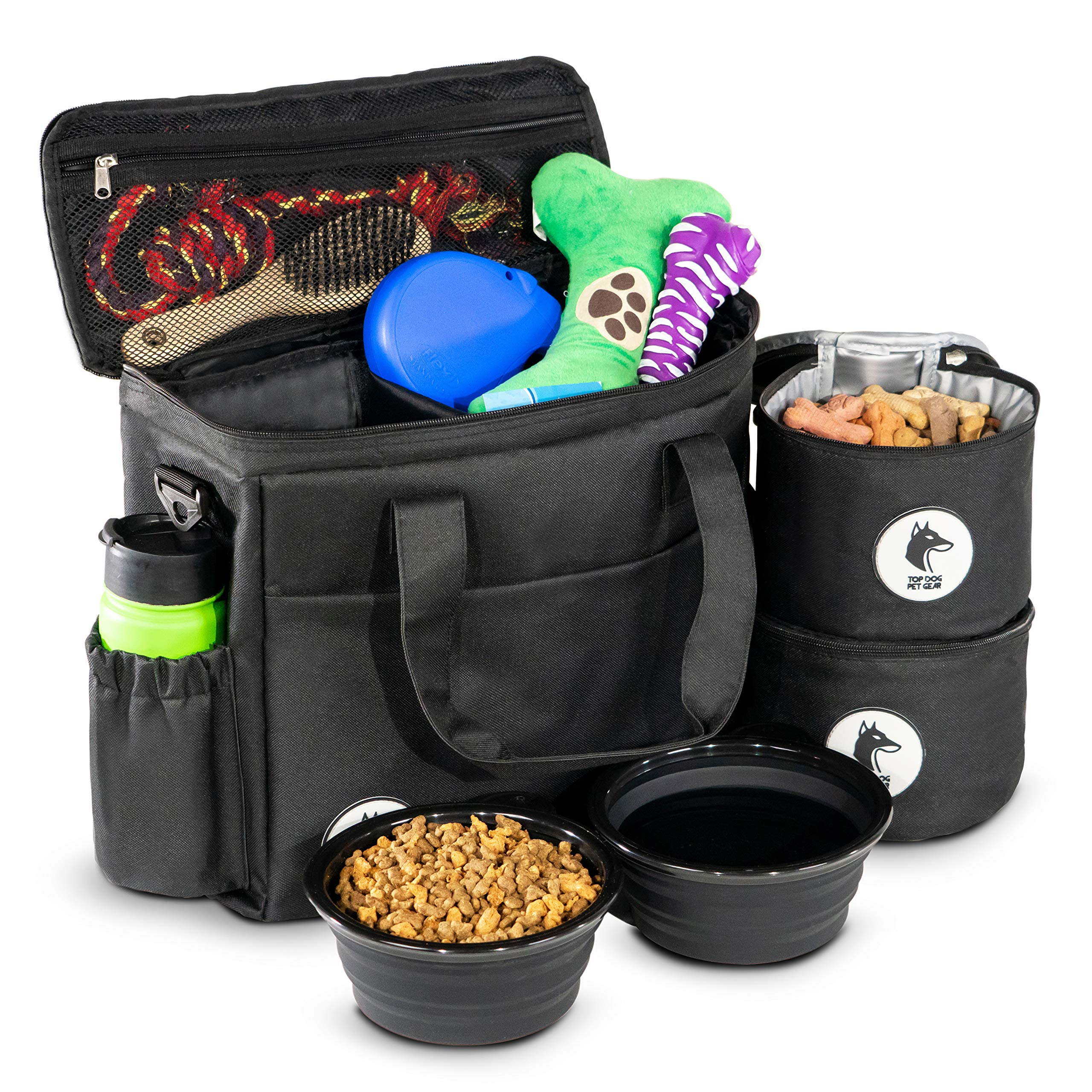 Top Dog Travel Bag - Airline Approved Travel Set for Dogs Stores All Your Dog Accessories - Includes Travel Bag, 2X Food Storage Containers and 2X Collapsible Dog Bowls - Black by Top Dog Pet Gear