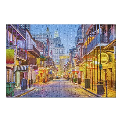 New Orleans, Louisiana - Bourbon Street at Night 9006724 (Premium 500 Piece Jigsaw Puzzle for Adults, 13x19, Made in USA!): Toys & Games