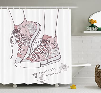 lunarable cute shower curtain shoes with floral pattern teenage girls sneakers flowers and birds retro - Cute Shower Curtains