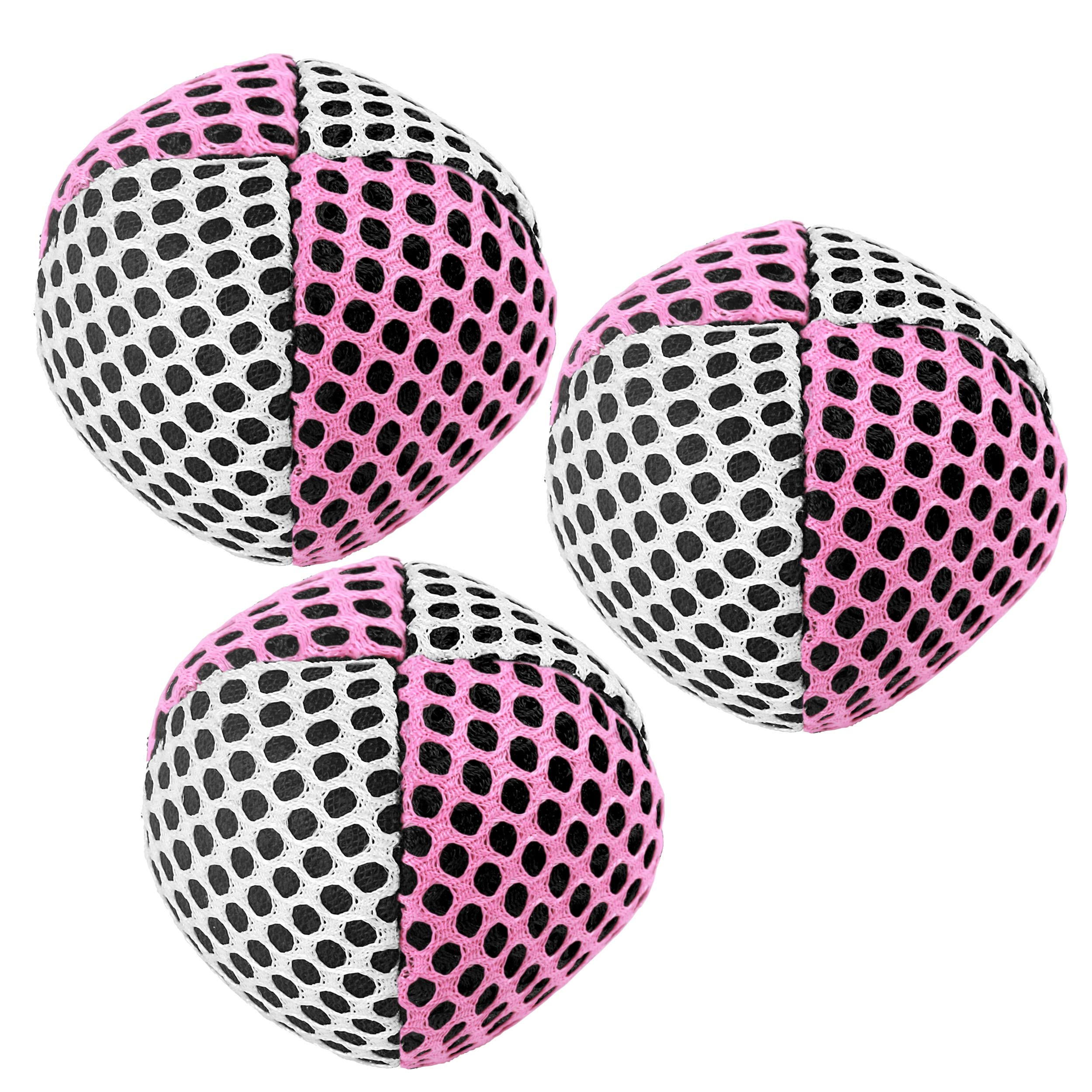 Speevers Xballs Juggling Balls Professional Set of 3 Fresh Design - 10 Beautiful Colors Available - 2 Layers of Net Carry Case - Choice of The World Champions (White - Pink) by Speevers