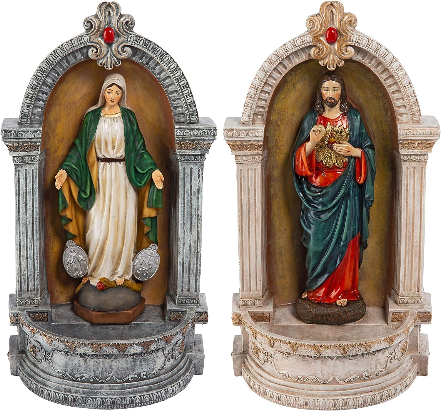 Design Toscano Holy Family Devotionals: Italian-Style Font Statue 12 Inch Full Color Set of Two