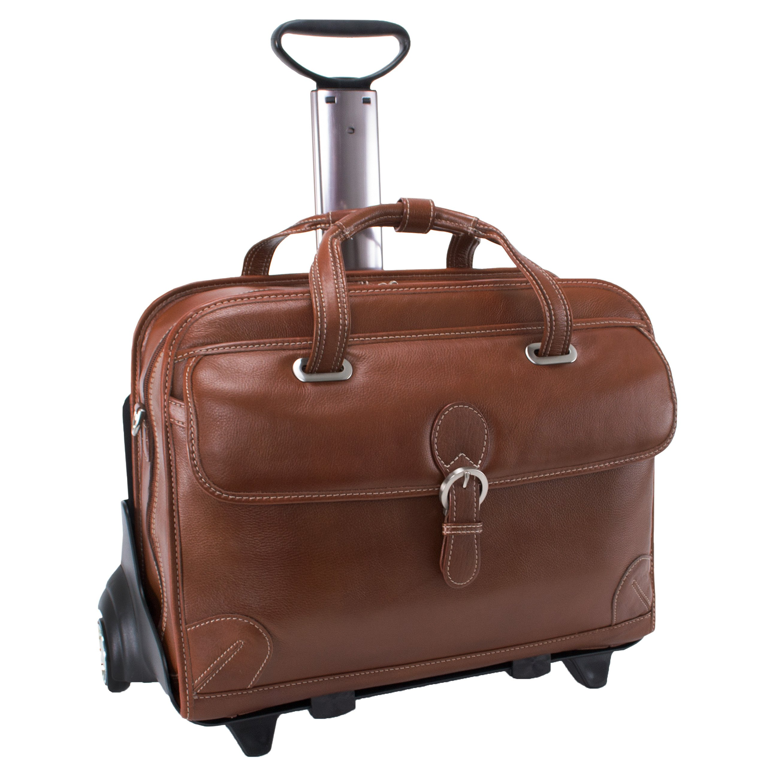 Siamod CARUGETTO 45294 Cognac Leather Detachable-Wheeled Laptop Case by Siamod
