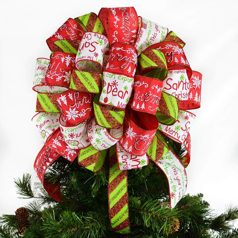 Christmas Tree Bow.Amazon Com Dear Santa Christmas Tree Bow Topper Present