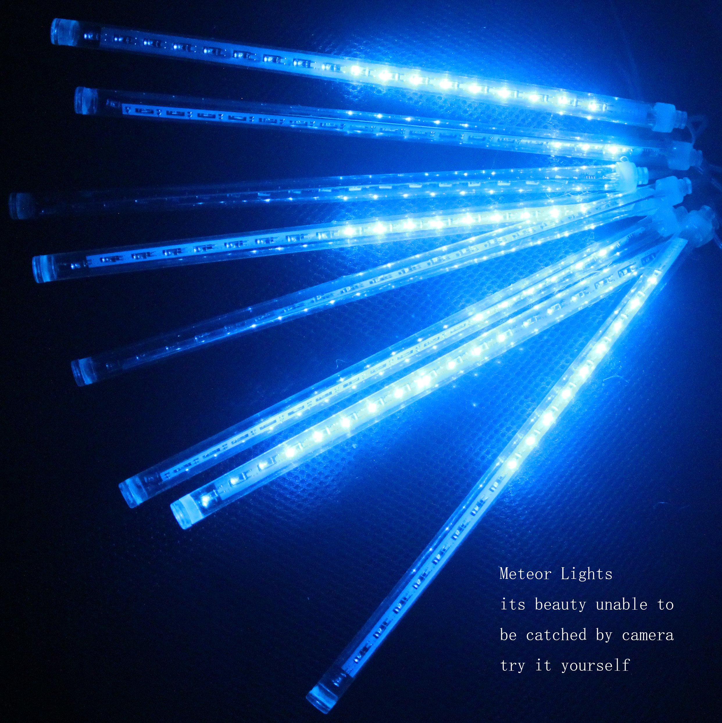 CDL 10sets Meteor Icicle Snow Falling Rain Drop 30cm 8 Tubes 144 LED Shower Christmas Raindrop Cascading Lights for Wedding Party Holiday Xmas Halloween Home Garden Tree Decoration (10, Blue) by CDL-METEOR LIGHTS