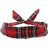 Wire Headband Retro Wired Head Scarf Rockabilly Wire Hair Band Head Wrap Vintage Tartan Red