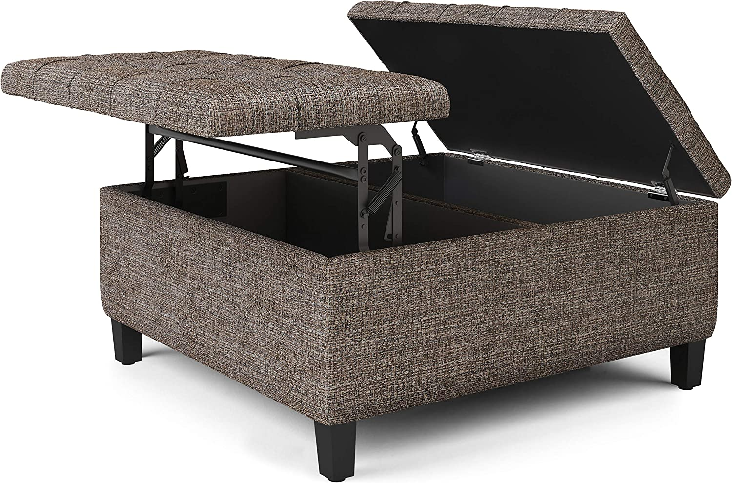 Ottomans Simpli Home Harrison 36 Inch Wide Square Coffee Table Lift Top Storage Ottoman Traditional Cocktail Footrest Stool In Upholstered Distressed Brown Tufted Faux Air Leather For The Living Room Home