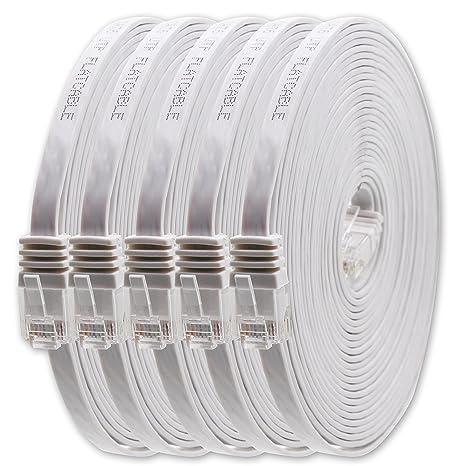 1aTTack.de Cat6 Cat.6 Cable Plano Cable de Red LAN Cable Plano Banda LAN 1000 Mbit/s Blanco Blanco - 5 Piezas 1,5m