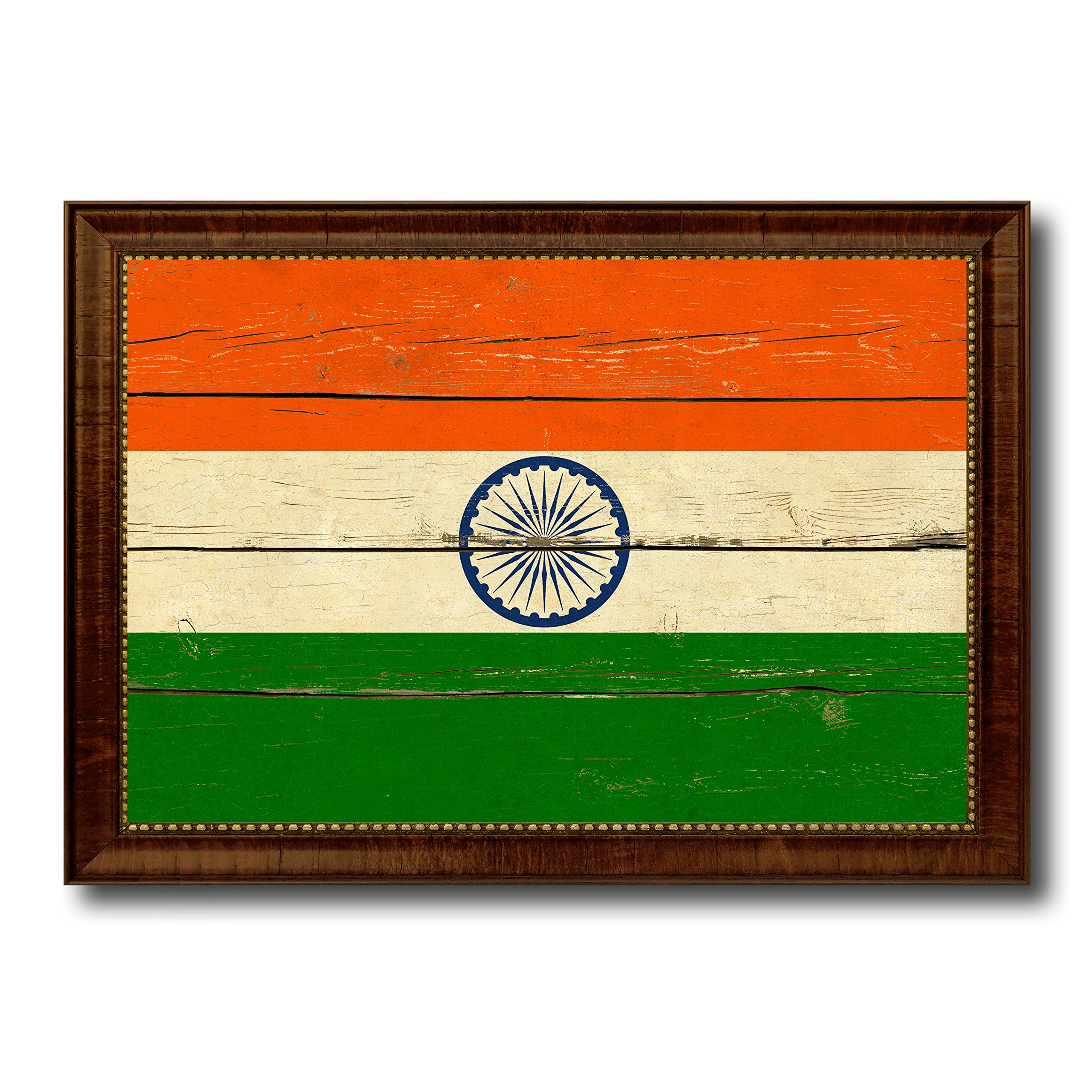 India Country Flag Vintage Canvas Print with Brown Picture Frame Gifts Home Decor Wall Art Decoration Artwork