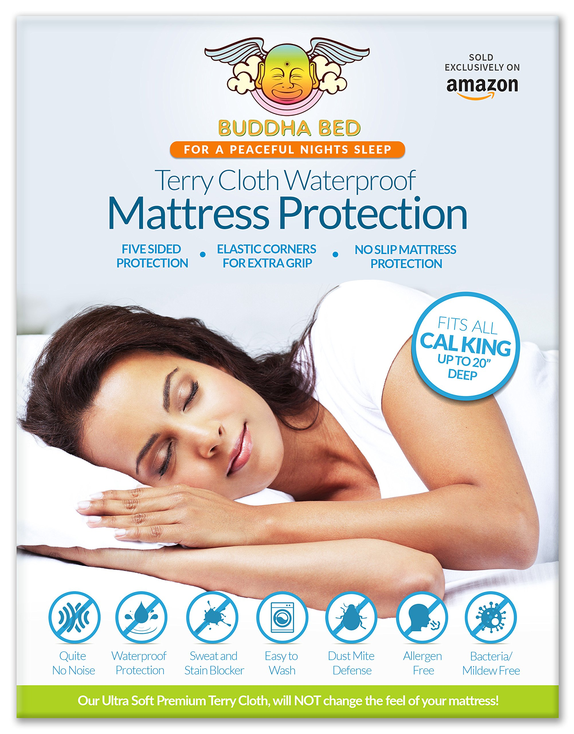 California King Mattress Encasement. 100% Waterpoof designed to block sweat, stains, urine, and accidents. Bleachable, Easy to Wash. Installs like a fitted sheet and fits up to 20 Inches Deep.