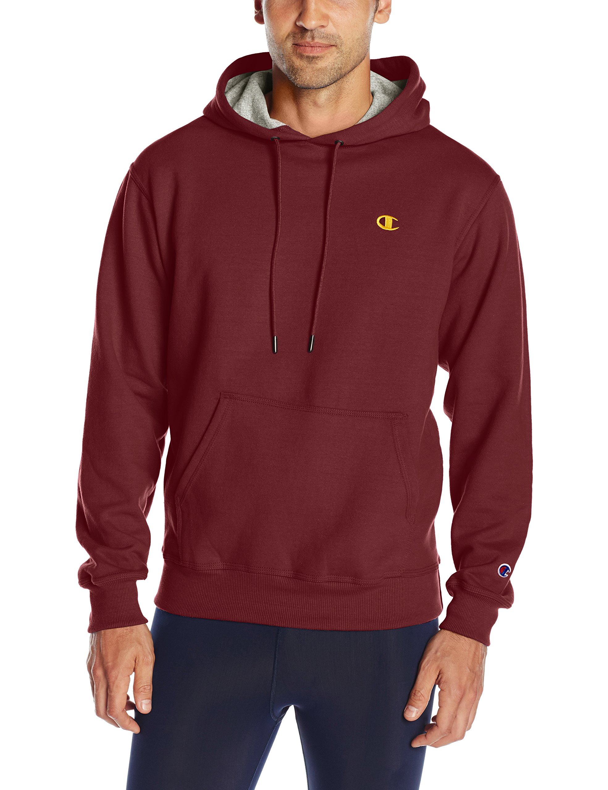 Champion Men's Powerblend Pullover Hoodie, Maroon/Team Gold Embroidered c Logo, Small