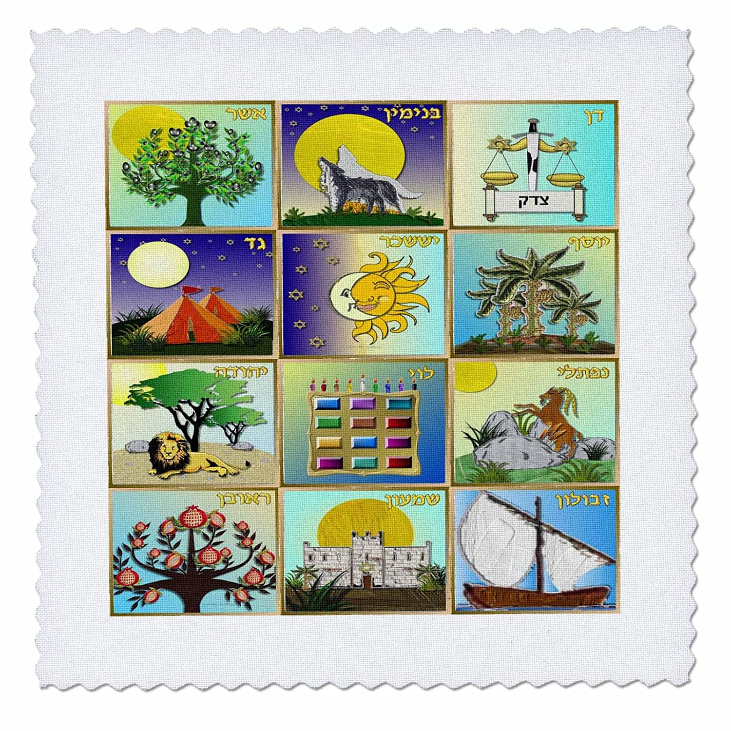 12 Tribes of Israel Art Print 16x16 inch quilt square Lee Hiller Designs Judaica qs/_107255/_6