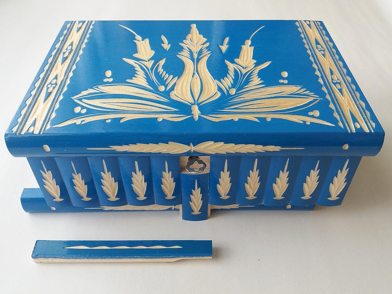 Gigante caja puzzle grande azul enorme del rompecabezas de la caja secreta mágica de joyería de almacenaje de madera tallada de la sorpresa juguete de madera para los cabritos: Amazon.es: Handmade