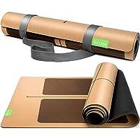 BACKLAxx® Kork yogamatta med naturgummi – hållbar yogamatta, halkfri föroreningsfri med halkskyddszoner – inkl. mattband…