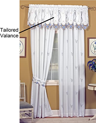 Today s Curtain Verona Reverse Embroidery Tailored Valance, 18-Inch, White Blue