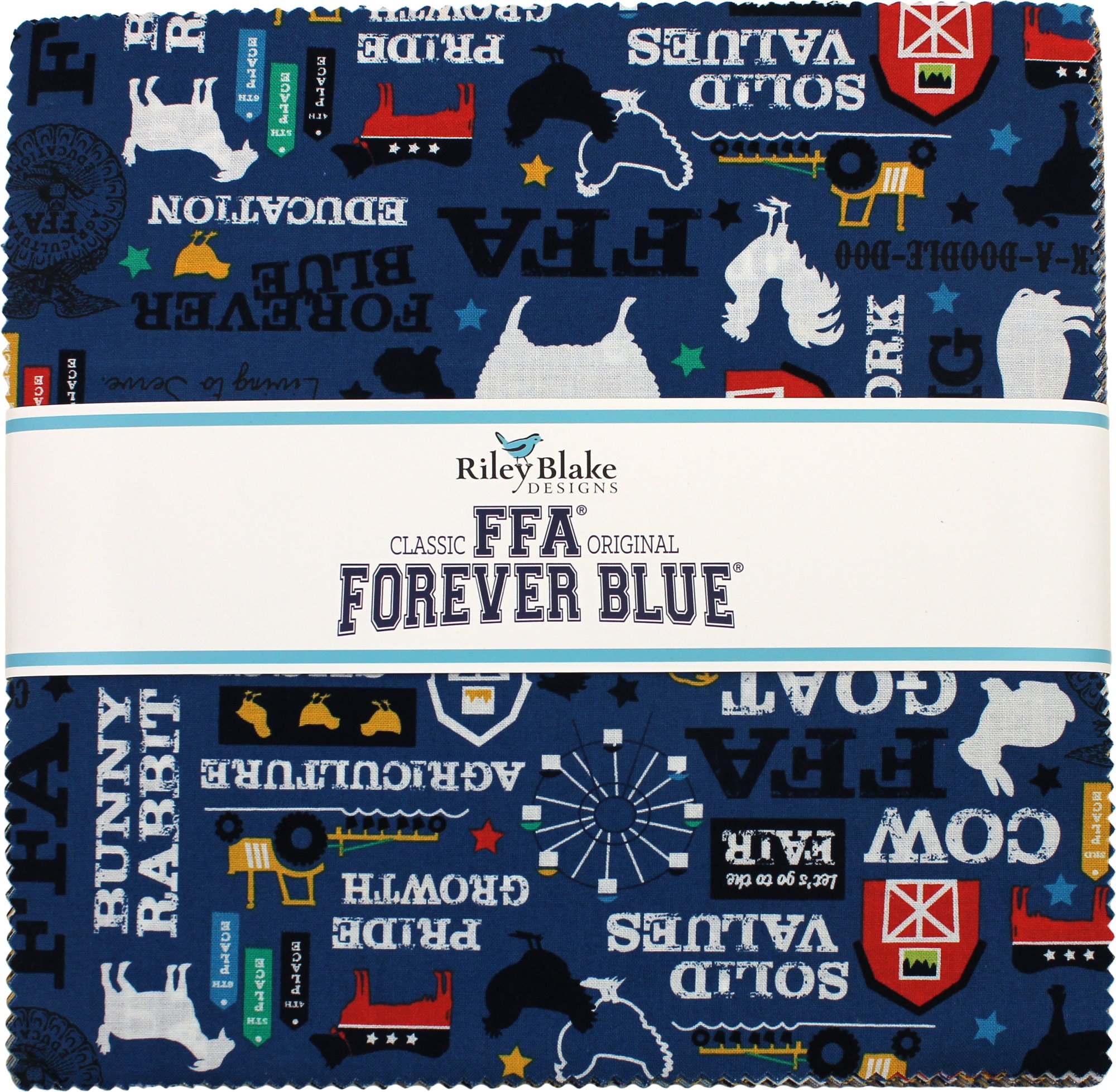 FFA Forever Blue 10'' Stacker 42 10-inch Squares Layer Cake Riley Blake Designs 10-7210-42 by Riley Blake Designs