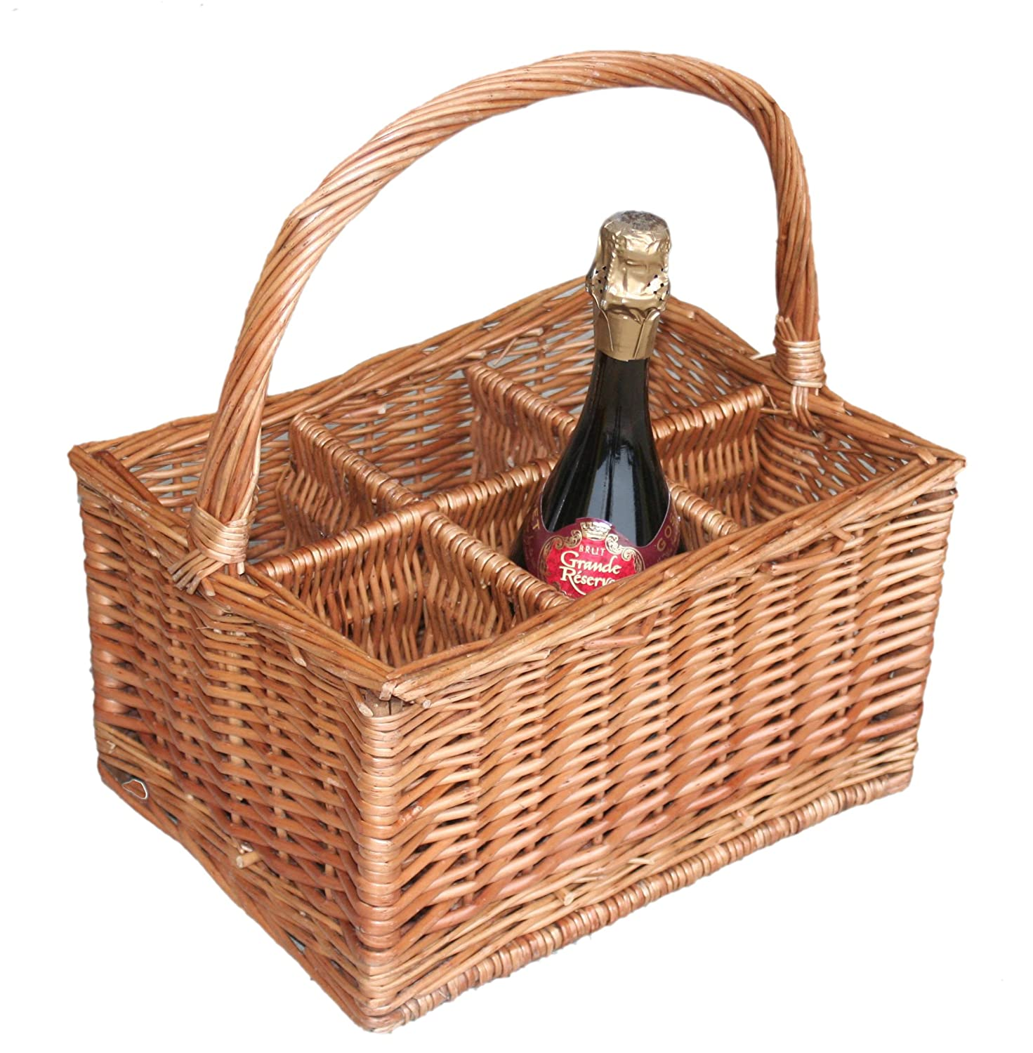 Red Hamper Double Steamed 6 Door Drinks Bottle Basket DB003