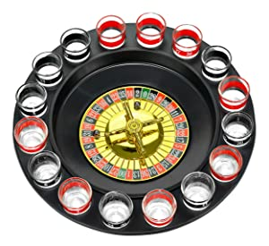 New Maxam 16 Shot Roulette Drinking Game Set 16 Numbered Shot Glasses 2 Metal Roulette Balls