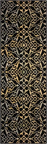 Superior 8mm Pile Height with Jute Backing, Vintage Distressed Geometric Pattern, Fashionable and Affordable Woven Rugs, 2 7 x 8 Runner, Black