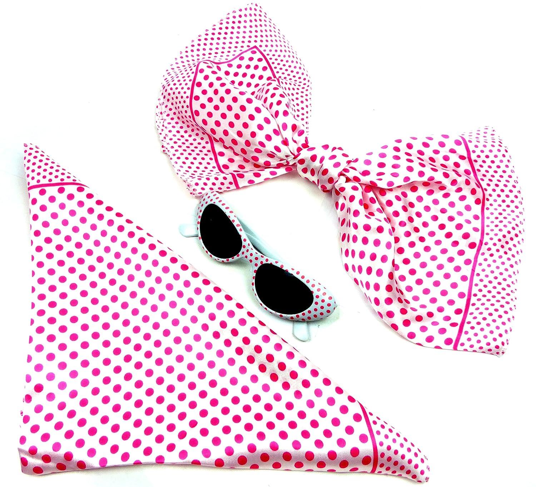 Nicki-Tuecher Set weiss rosa mit Sonnenbrille Poly