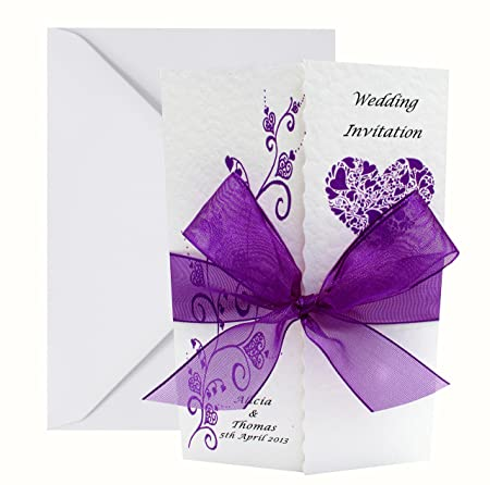 50 Personalised Handmade Gatefold Wedding Invitations Lots Of Ribbon Design Colours Available