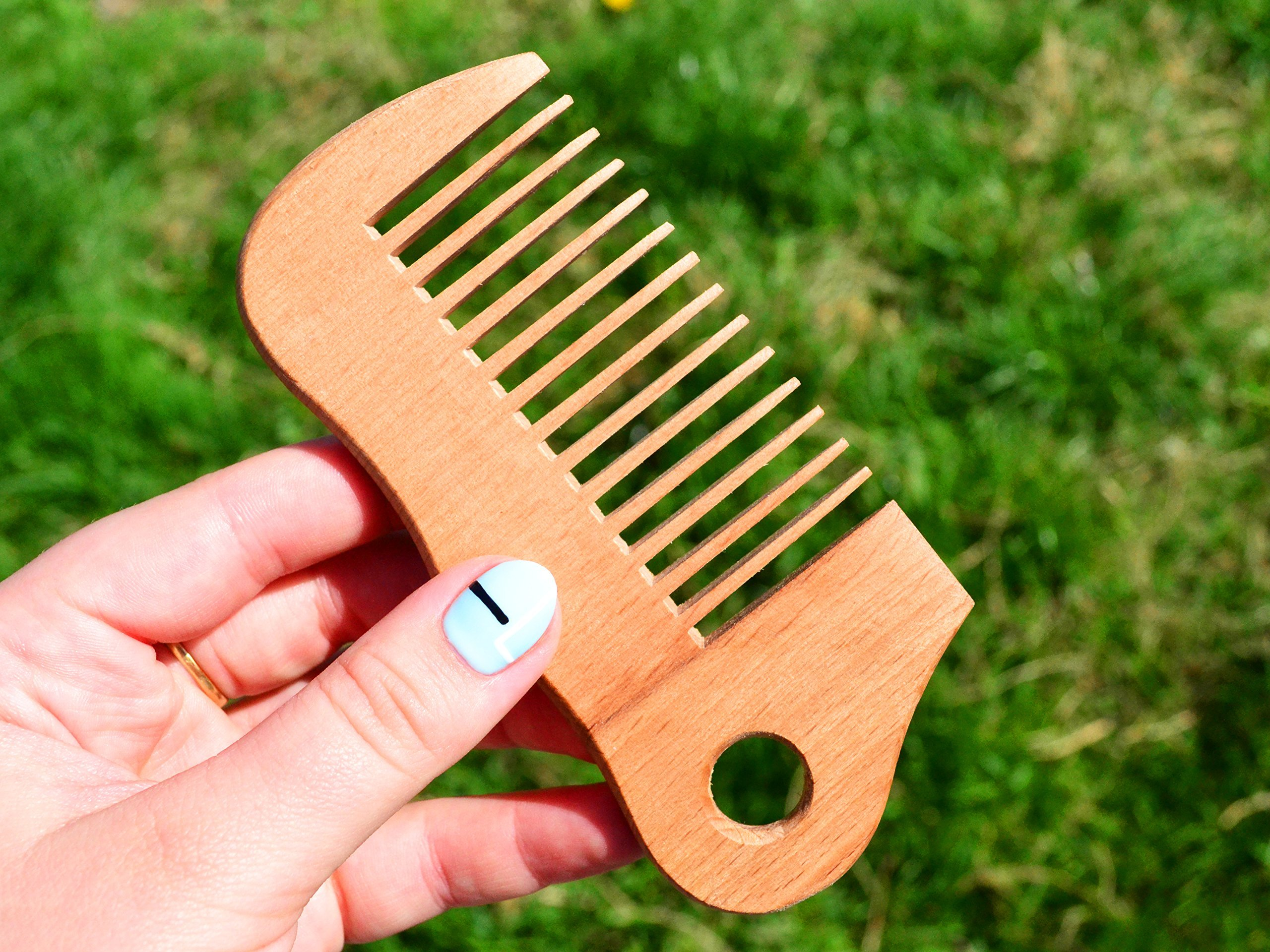 5'' Wooden Brush for Men - Groomsman Gift - Pocket Size Comb - Hairbrush - WoodenWorldUA - Wooden Comb - Wood Hair Brush - Handmade Comb - Pocket Wooden Bomb - Hair Care Comb - Wave Shape Beard Comb