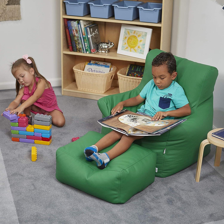 ECR4Kids Bean Bag Chair and Ottoman Set Black ECR4KIDS Education ELR-12803-BK