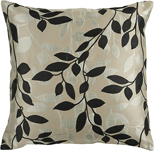 Artistic Weavers HH-061 Hand Crafted 88 Polyester 12 Polyamide Black 18 x 18 Floral Decorative Pillow