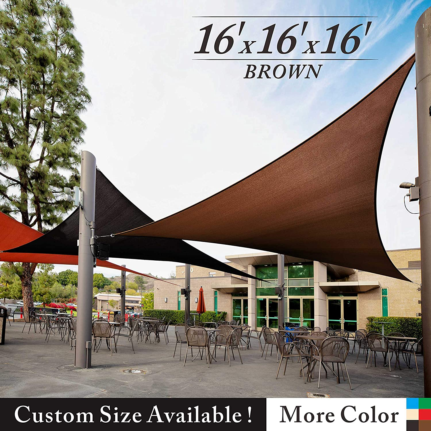 Royal Shade 16 x 16 x 16 Brown Triangle Sun Shade Sail Canopy Outdoor Patio Fabric Shelter Cloth Screen Awning – 95 UV Protection, 200 GSM, Heavy Duty, 5 Years Warranty, We Make Custom Size