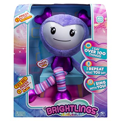 """Brightlings, Interactive Singing, Talking 15"""" Plush, by Spin Master - Purple: Toys & Games"""