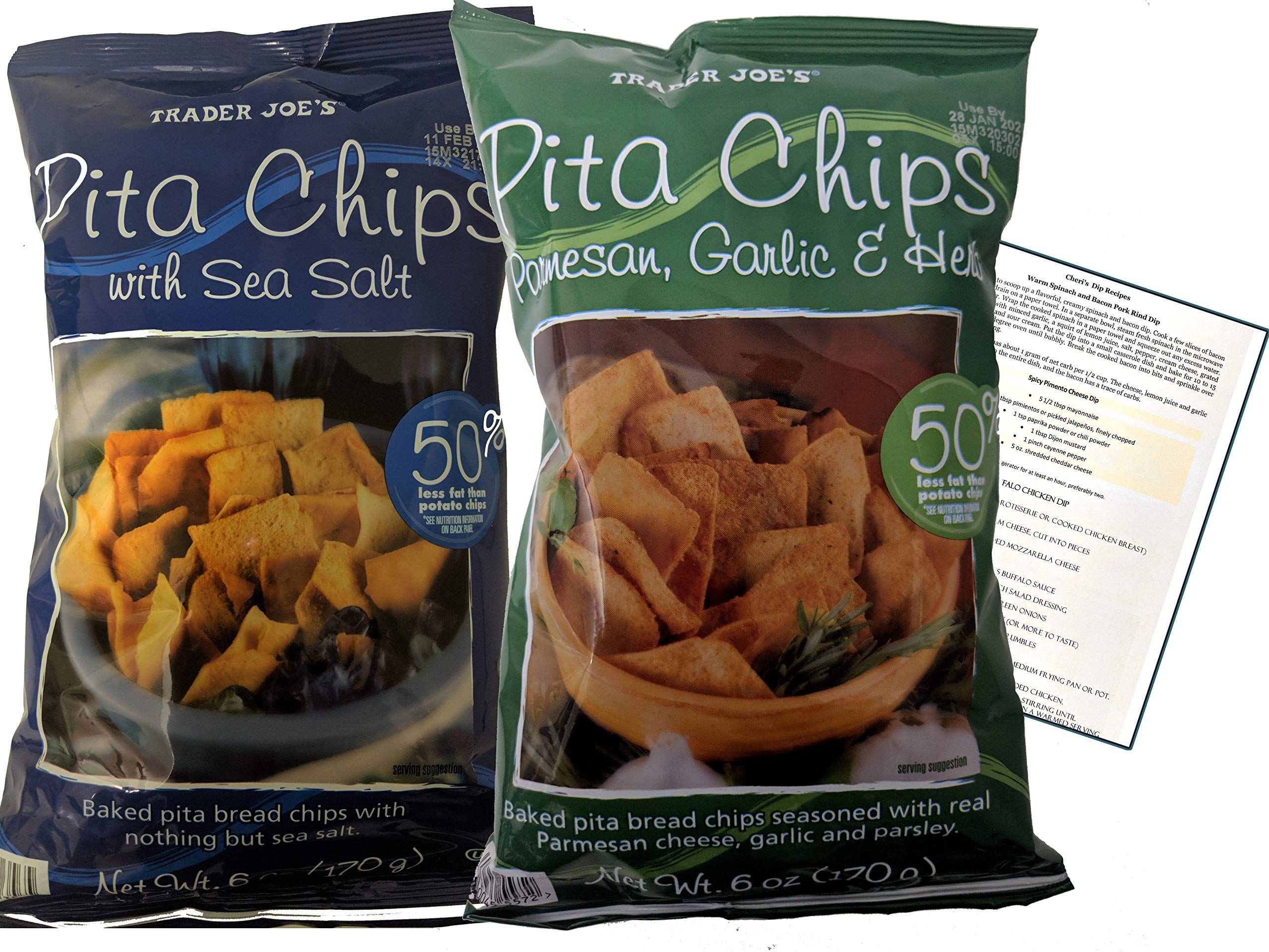 Baked Pita Chips Variety Pack of 2 Parmesan, Garlic & Herb and Pita Chip with Sea Salt. Healthy Chips with Cheri's Keto Dip Recipes by Snack Fun