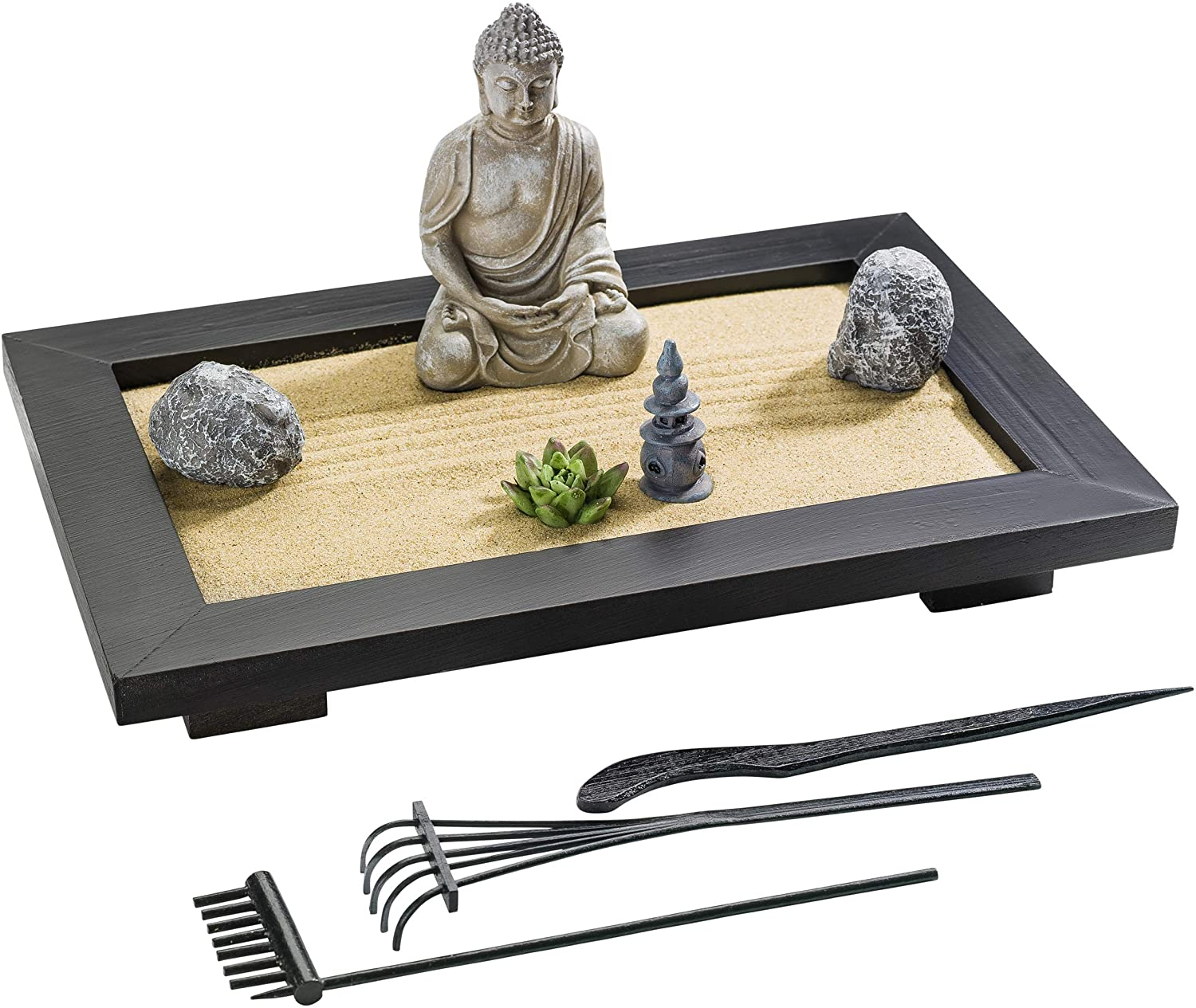 ZANTRA Premium Zen Garden for Desk 12 x 8 inch, Office and Home Decor, Wooden Sand Tray, Buddha, Lotus, Rock Features, Pagoda, Bamboo Rakes, Info Guide – Mini Zen Garden for Stress Relief, Meditation
