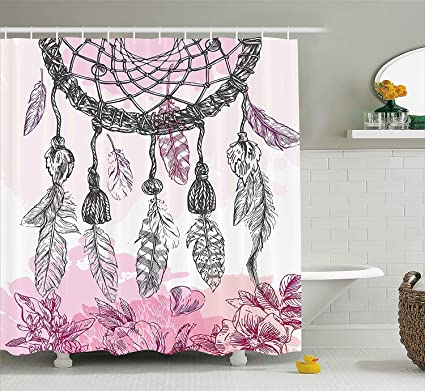 Eurag Indian Decor Shower Curtain By Boho Style Native American Dreamcatcher With Feathers And Florets