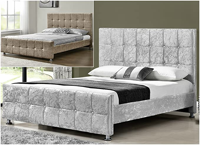 Unmatchable Cube Upholstered Fabric Bed Frame Velvet/Chenille Double King  Size (Mink Chenille, Double): Amazon.co.uk: Kitchen U0026 Home