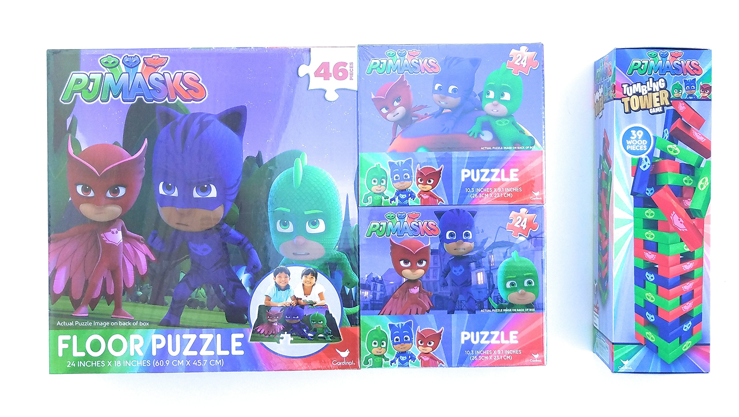 PJ Masks Puzzle and Tumbling Tower Bundle - Includes 3 Puzzles and 1 Game - Perfect For Christmas!