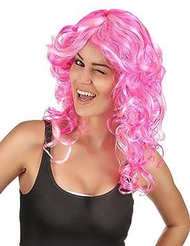 Peluca rosa rizada mujer - Única