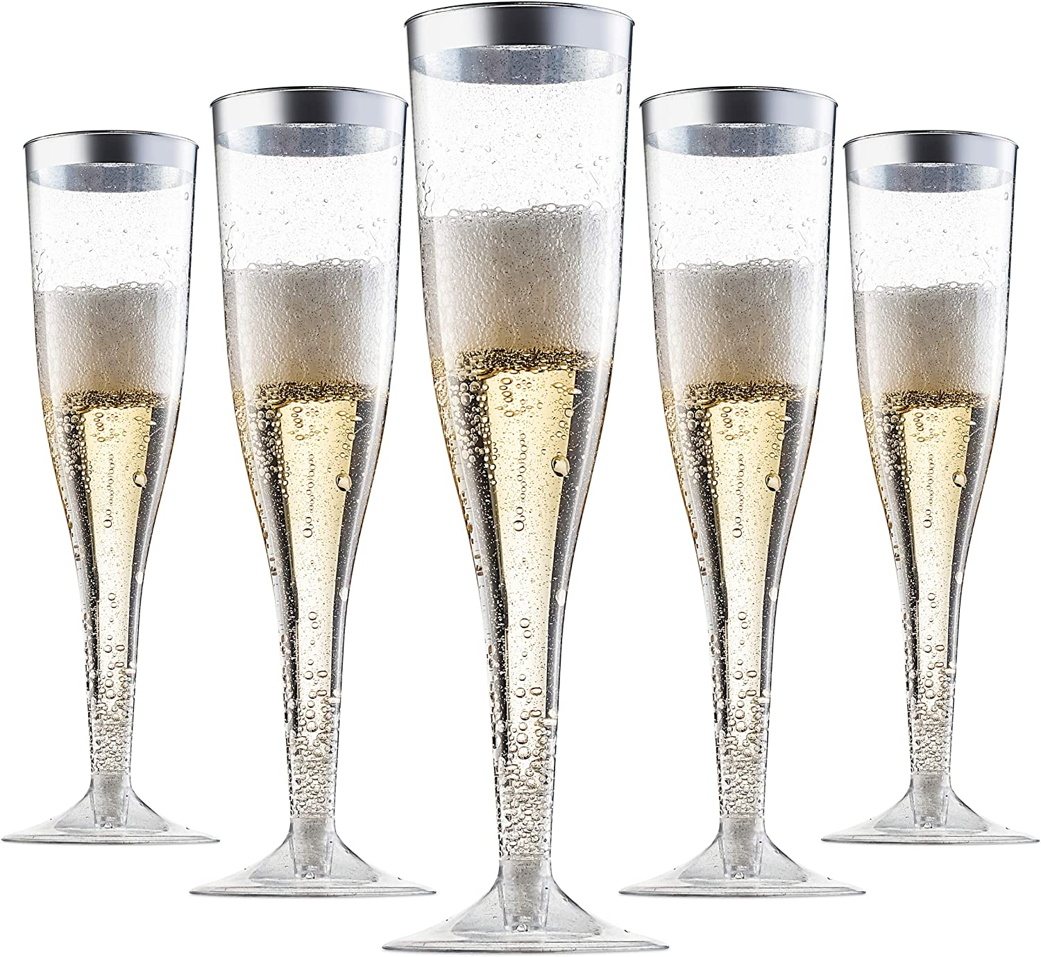 Plastic Limited time trial price Champagne Flutes Disposable - a Spasm price with Glitter Silver Silv