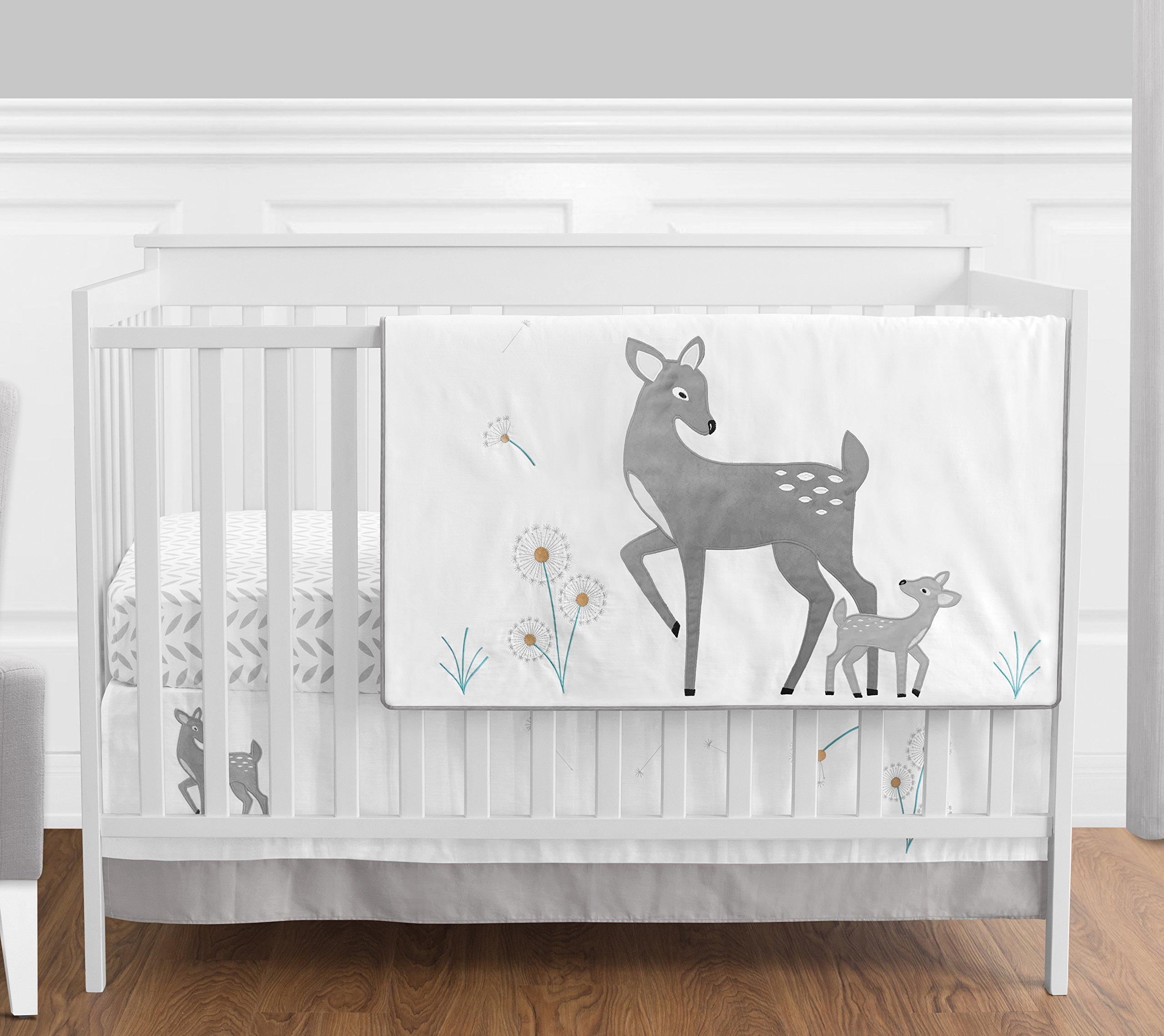Grey Gold and White Forest Deer and Dandelion Girl or Boy Baby Bedding 4 Piece Crib Set Without Bumper
