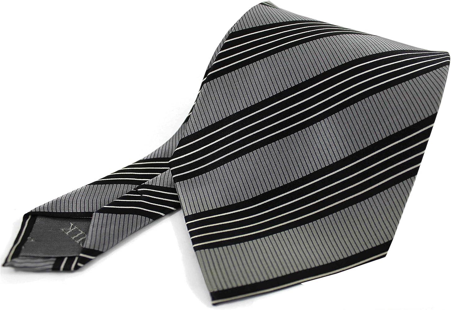 Corbata de seda confeccionada en 100% seda gris negro blanco ...